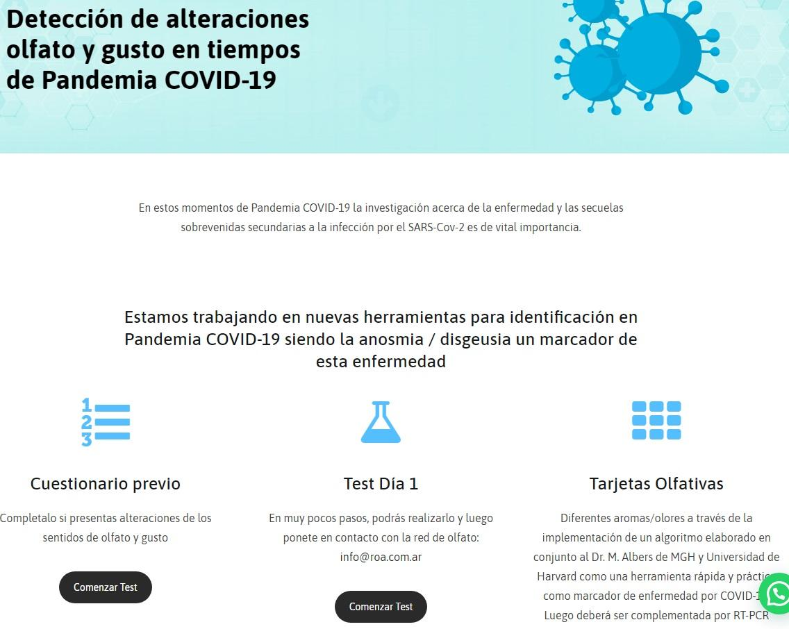 Test Olfato online para detectar coronavirus