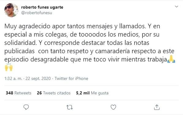 El mensaje de Robertito Funes tras la agresión